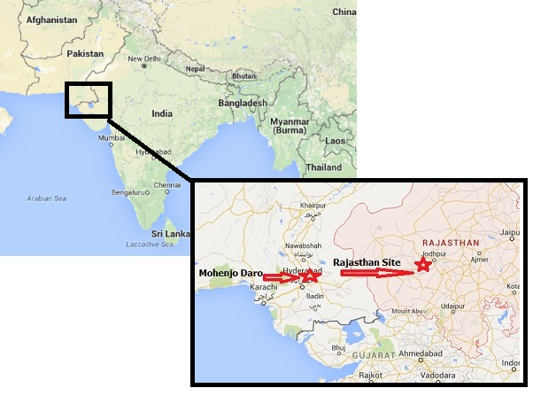 Area of India and Pakistan effected by ancient nuclear activity