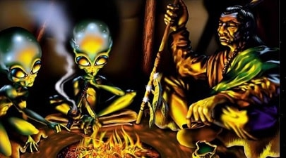 Indians Aliens smoke peace pipe