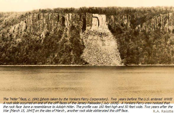 Formation created by a rockslide that created a facsimile image of Adolf Hitlers Face