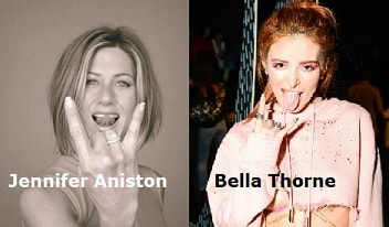 Jennifer Aniston Bella Thorne luciferian tongues