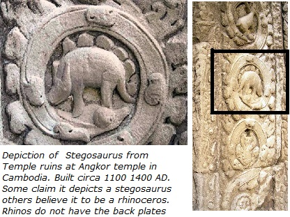 Stegosaurus depicted on Ancient Cambodian Temple