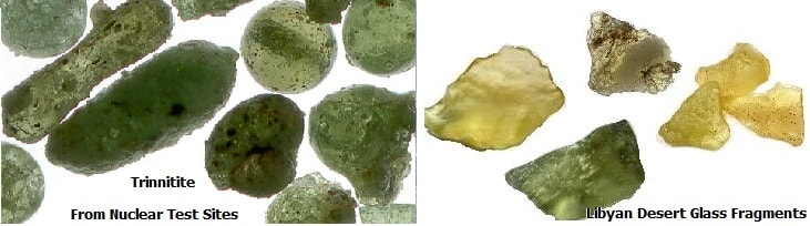 Trinitite from known nuclear blasts comparison with Libyan Desert Glass