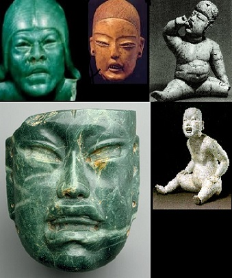 Jade artwork from Mesoamerica depicting what can be interpreted as Oriental, Asian people