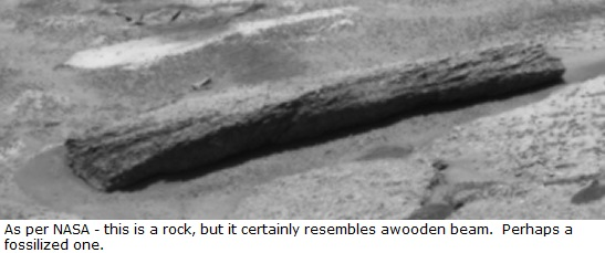 Possible wooden beam similar to a landscaping or railroad tie photographed on Mars