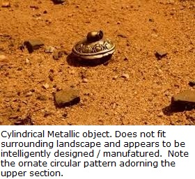 metallic object apparently manufactured, not natural, found on Mars surface