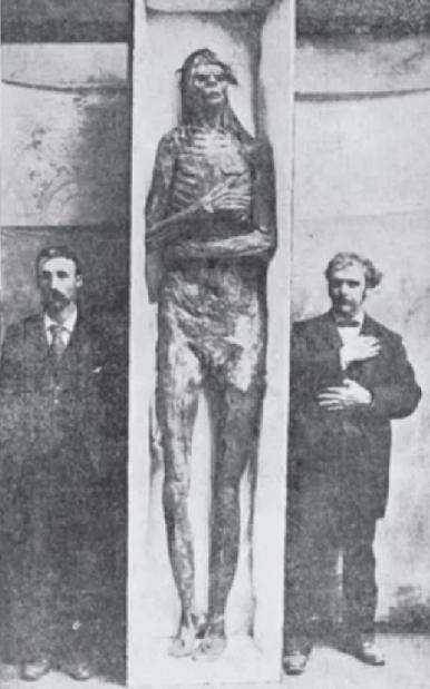 Giant mummified Woman and Child, known as the Martindale Mummies
