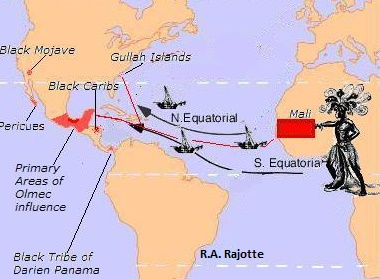 Hypothetical Route of African Travelers to Pre Columbian America