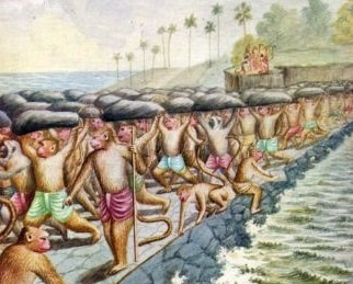 Hindu legends state that an Army of apes built the bridge between India and Sri Lanka under the direction of Prince Rama